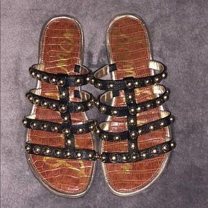 Sam Edelman Black Leather Glen Slide Sandal Gold